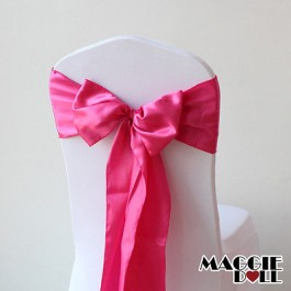 Satin Chair Cover Sashes Bows pack of 25 - Hot Pink