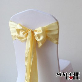 Satin Chair Cover Sashes Bows pack of 25 - Gold