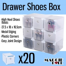 20x High Heel Shoes Boot Clear Plastic Drawer Storage Box - Metal Edge Large