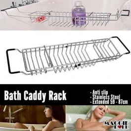 Bath Caddy Bathtub overback Rack Extension Fit Over Baths Deluxe Chrome