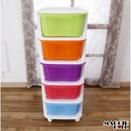 5 Tier Multi Purpose Storage Drawers Shelves bedroom bathroom toy Plastic Organizer