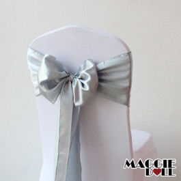 Satin Chair Cover Sashes Bows pack of 25 - Silver
