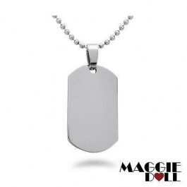 New Stainless Steel Titanium Necklace Dog Tag Pendant + Free 60cm Ball Chain