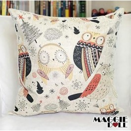 NEW Vintage Cotton Linen Cushion Cover Home Decor Decorative pillow case owl