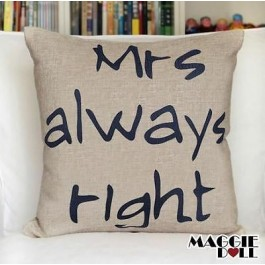 NEW Vintage Cotton Linen Cushion Cover Home Decor Decorative pillow mrs right