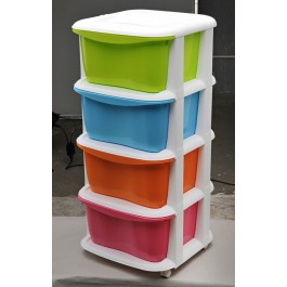 4 Tier Multi Purpose Storage Drawers Shelves bedroom bathroom toy Plastic Organizer
