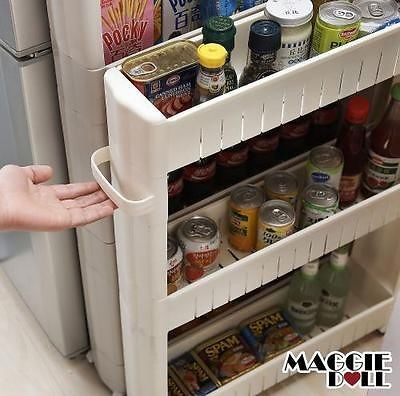 Maggiedoll storage wheel trolley space saver 4 tier for Kitchen space savers