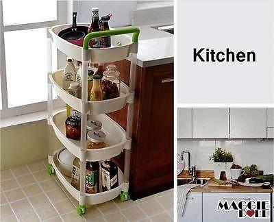 MaggieDoll Plastic Trolley On Wheel Kitchen Bathroom Laundry Storage