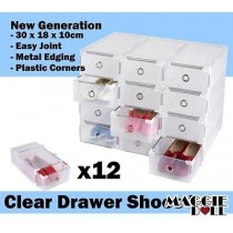 12x Clear Plastic See Through Drawer Shoe Storage Box Metal Edge 30x18x10cm