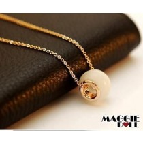18K White Gold plated Gemstone pendant Necklace