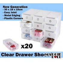 20 x Clear Plastic See Through Drawer Shoes Storage Box - Metal Edge 30x18x10cm