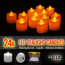 24x LED Flickering Candle Lights Tealights Wedding Party Warm Flameless