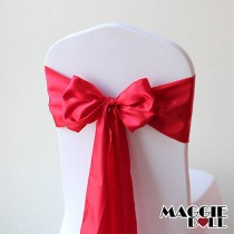 Satin Chair Cover Sashes Bows pack of 25 - Red
