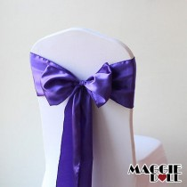 Satin Chair Cover Sashes Bows pack of 25 - Purple