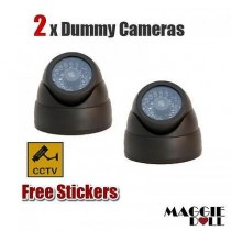 2x Fake Dummy DOME LED security CCTV CCD camera surveillance flashing light