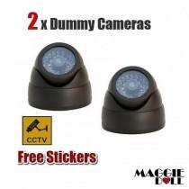 2x Fake Dummy DOME LED security CCTV CCD camera surveillance flashing light