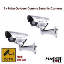 2x Fake Outdoor Dummy LED security CCTV camera surveillance flashing light