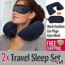 2x Travel 3 in 1 Sleep Set car Inflatable Neck Pillow Support Cushion + Eye Mask