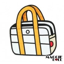 3D Jump Style 2D Drawing From Cartoon Paper Bag Comic Tote Bag - yellow
