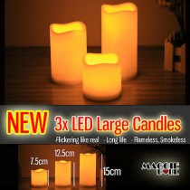3pcs Large Led Flameless Candles Light Battery Operated Safe