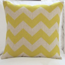 Vintage Linen Cotton Cushion Cover Home Decor Throw Pillow Case 45x45cm zigzag[Yellow]