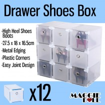 12x High Heel Shoes Boot Clear Plastic Drawer Storage Box - Metal Edge Large