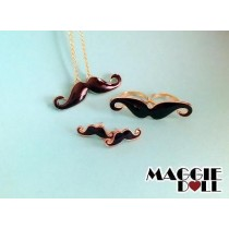 Black moustache jewellery set - Earrings necklace ring