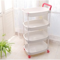 Plastic trolley on wheel kitchen bathroom laundry storage cart shelf 4 tier