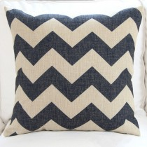 Vintage Linen Cotton Cushion Cover Home Decor Throw Pillow Case 45x45cm zigzag[Black]