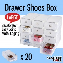 20x Large See Through Drawer Shoe Storage Box Metal Edge 33x20x12cm
