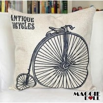 NEW Vintage Cotton Linen Cushion Cover Home Decor Decorative pillow case Bicycle