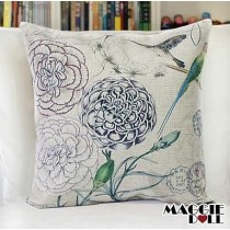 NEW Vintage Cotton Linen Cushion Cover Home Decor Decorative pillow case flower2