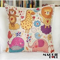 NEW Vintage Cotton Linen Cushion Cover Home Decor Decorative pillow case zoo