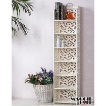 White Hollow Carved Kitchen Book Shelf 7 tier 12030