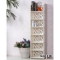 White Hollow Carved Kitchen Book Shelf 7 tier 12030