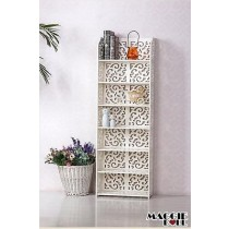 White Hollow Carved Kitchen Bathroom Storage shoes Rack book shelves 12040