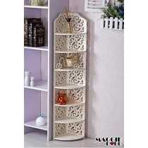 White Hollow Carved Kitchen Corner Shelf 7 tier 120zj