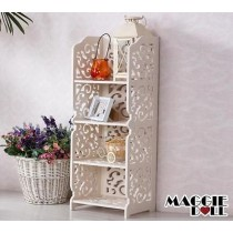 White Hollow Carved Kitchen Book Shelf 4 tier 8030