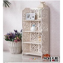 White Hollow Carved Kitchen Book Shelf 4 tier 8040