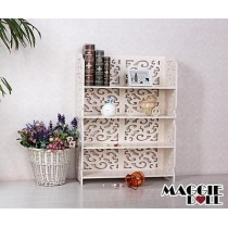White Hollow Carved Kitchen Book Shelf 4 tier 8060