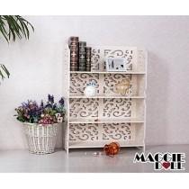 White Hollow Carved Kitchen Book Shelf 4 tier 8060