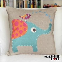 Vintage Cotton Linen Cushion Cover Home Decor Decorative pillow case elephant