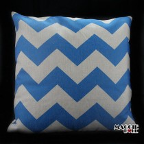 Vintage Linen Cotton Cushion Cover Home Decor Throw Pillow Case 45cm zigzag blue